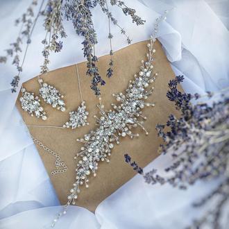 Свадебное украшение для волос, веточка в прическу, комплект украшений  для невесты