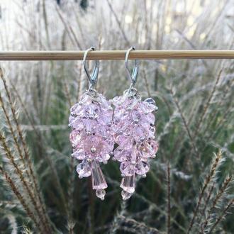 серьги грозди нежно розового цвета