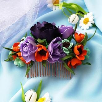 Свадебный гребень для волос с цветком бордового цвета