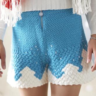 Зимові в'язані блакитні шорти-спідниця