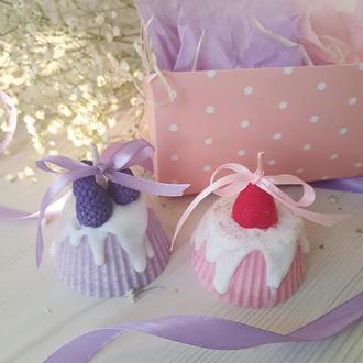 Оригінальний подарунок на День народження - Набір КАПКЕЙКИ з 2 десертних натуральних свічок!!!