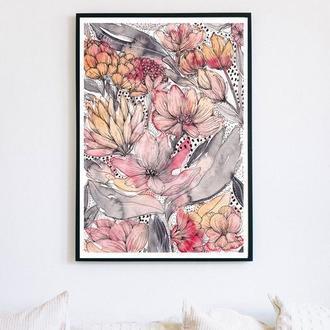 Яркий акварельный постер с цветами