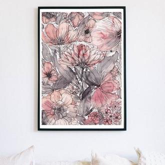 Авторский акварельный постер с розовыми цветами