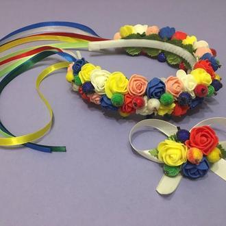 Обруч ободок для волос с разноцветними цветами и лентами для девочки, венок под вишиванку