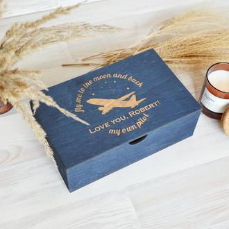 Дерев'яна синя коробка спогадів подарунок чоловікові Giftbox memorybox