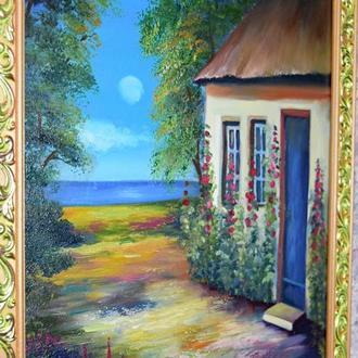 Домик на берегу моря, живопись,  размер 30х40см