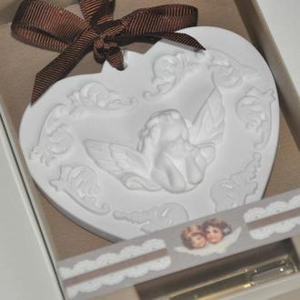 Аромакамень сердце с ангелом в подарочной упаковке