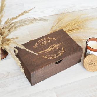 Дерев'яна коричнева коробка спогадів подорожі подарунок чоловікові Giftbox memorybox