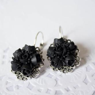 """Серьги """"Черные розы"""""""