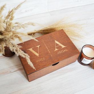 Дерев'яна коричнева коробка спогадів подарунок коханій коханому батькам Giftbox memorybox