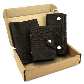 Подарочный набор №29: Обложка на паспорт + ключница + визитница (коричневый крокодил)
