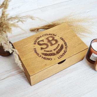 Дерев'яна коричнева коробка подарунок папі чоловікові на день Батька Giftbox memorybox