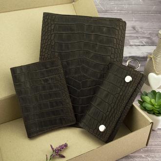 Подарочный набор №25: Обложка на ежедневник + обложка на паспорт + ключница (коричневый крокодил)