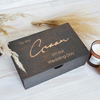 Деревянная черная коробка подарок жениху на свадьбу свидетелю на мальчишник Giftbox memorybox