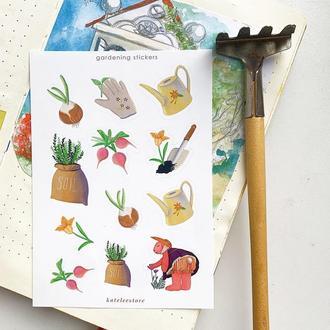 Стикеры весенние «gardening», наклейки для планнера, стикеры для скрапбукинга, посткроссинг стикеры