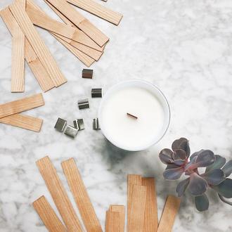 Фитиль деревянный 13см из дерева с металлической основой, готовый к использованию для соевых свечей