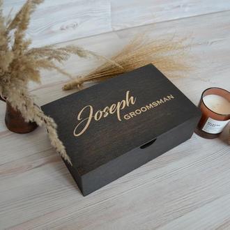 Деревянная черная коробка подарок жениху на свадьбу свидетелю перед свадьбой Giftbox memorybox