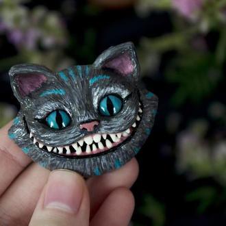 Брошь Чеширский кот, брошь чешир, Алиса в стране Чудес