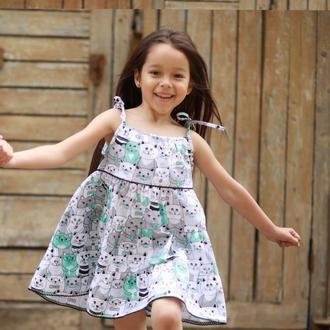 Летний сарафан для девочки, Платье детское с котятами