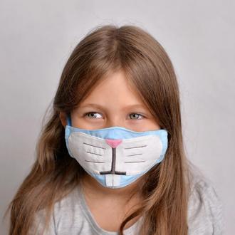 Многоразовая тканевая маска зайчика - 100% хлопок, с карманами для фильтра. Доставка включена!
