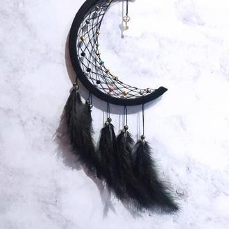 Черный Ловец снов Луна.  Декор для дома. Амулет. Подарок