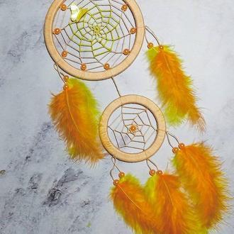 Персиковый ловец снов.  Декор для дома. Подарок. Амулет.
