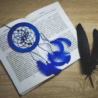 Синий ловец снов с агатом.  Декор для дома. Подарок. Амулет. Подвеска в авто