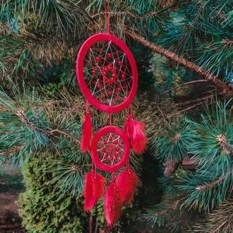 Красный Ловец снов. Декор для дома. Подарок. Амулет.