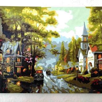 "Картина акрилом ""Старый город"". Интерьерная картина  50 Х 40 см акрил"