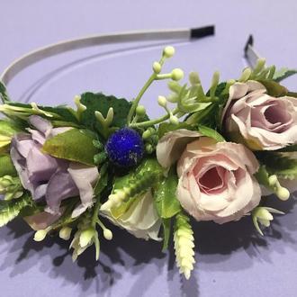 Обруч для волос невесты с розами, браслет на руку, бутоньерка