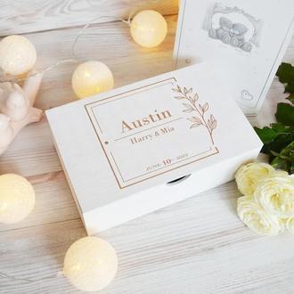 Свадебная белая деревянная коробка воспоминаний подарок любимой любимому Giftbox memorybox