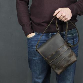 Кожаная мужская сумка небольшого размера через плечо