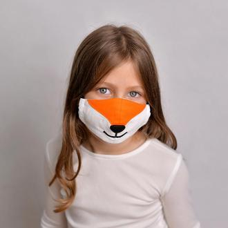 Многоразовая тканевая маска лисички - 100% хлопок, с карманами для фильтра. Доставка включена!
