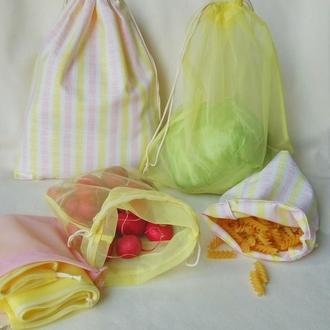 Набор экомешочков для продуктов 6шт + чехол. Эко мешочки для овощей