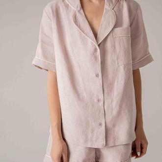 Костюм пижамный женский на лето, пижама летняя, пижама с шортами, пижама из льна, розовая пижама