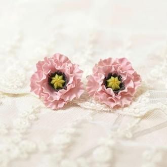 Серьги Розовые Маки