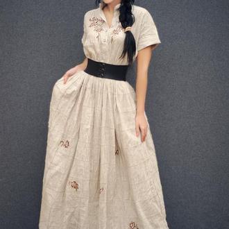 """Длинное льняное платье в бохо-стиле с ручной вышивкой """"Беж"""""""
