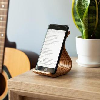 Деревянная подставка для телефона Phone Stand •Sign• Zebrawood light brown