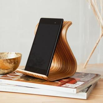 Деревянная подставка для планшета Tablet Stand •Sign• Zebrawood light brown