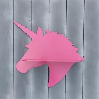 """Стильная настенная деревянная полка """"Единорог"""" розового цвета для книг, мелочей"""