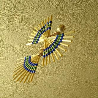 Декоративный птичий символ счастья, соломенная птица, символ Пасхи, соломенное искусство, украинская