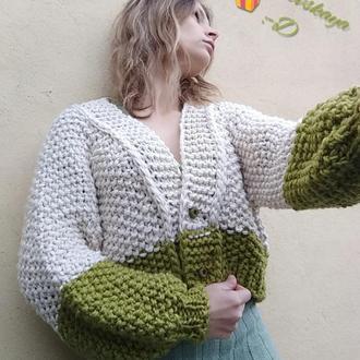 Модная, объемная, вязанная кофта с полушерсти, handmade