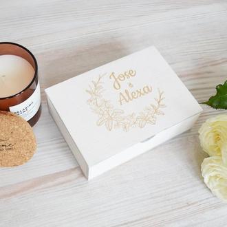 Свадебная белая деревянная коробка для колец на свадьбу любимой любимому Giftbox memorybox