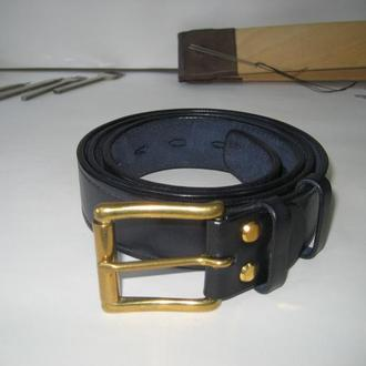 001 M B38 Мужской кожаный ремень 38мм, тёмно синий с ручной прошивкой (mens leather belt navy blue)
