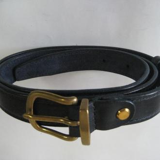 002 W B25 Женский кожаный ремень темно синий ( womens lether belt navy blue), шириной 25 мм.