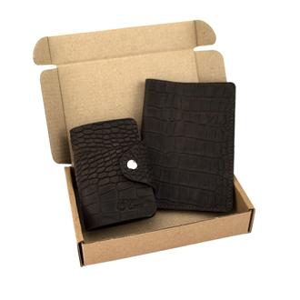 Подарочный набор №28: Обложка на паспорт + визитница (коричневый крокодил)