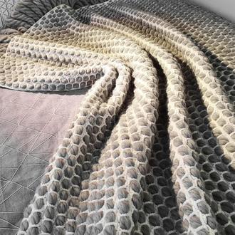 Плед из шерсти мериноса плетёный бело-серый