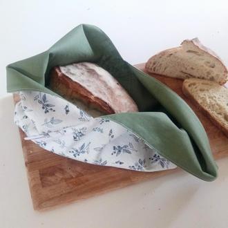Лляний мішечок для хліба з підкладом, єкохлібниця, мішечок з льону, хлібниця з тканини