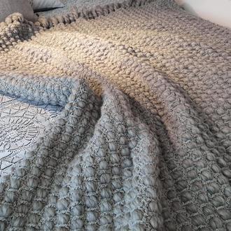 Плед из шерсти мериноса плетёный серый