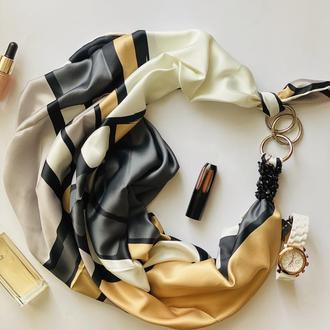 """Шелковый платок """"Золотой сад"""" от бренда my scarf, подарок женщине. Премиум коллекция!"""
